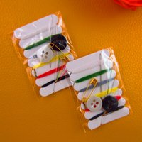 Wholesale mini sewing kit travel sewing kits embroidery needlework six threads sewing kit mending tools
