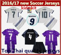 Wholesale 16 Real madrid Kids soccer Jersey Youth Child kit RONALDO home white away Purple Sets JAMES BALE RAMOS ISCO football shirt