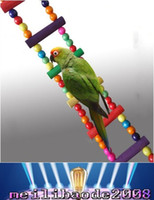 Wholesale Funny Colorful Wooden Pet Bird Toys Ladder Climb Parrot Drawbridge Bridge Macaw Cage Swing Shelf Singing Parrot Bites Toy MYY