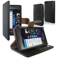 Wholesale Black Luxury Flip Folio Wallet PU Leather Case Pouch Stand for y Z10