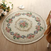 area table - Absorbent Non slip Round Floor Carpets Cream colored Kilim Floral Carpets for Bedroom Luxury Area Rugs Mats for Table Chairs