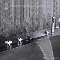 Wholesale Han Pai Brass Waterfall Hot and Cold Water Bathroom Shower Faucet Deck Mounted Bathtub Mixer Bath Set torneira banheiro chuveiro HP5303