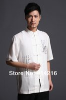 Wholesale male cotton chinese tradtional Tang suits martial arts white short sleeve men wing chun man kung fu Shirts clothes summer