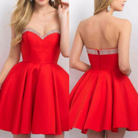 Wholesale Cute Red Satin Strapless Girls Short Prom Dresses Beaded Sexy Cocktail Party Gowns Formal Evening Party Dress Short Red Homecoming Dress