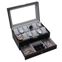 Wholesale 12 Grid Leather Watch Display Case Jewelry Collection Storage Organizer Box Holder Layer High Grade PU Hardware Factory Supply