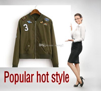 baseball wind jackets - Hot style embroidery army green baseball uniform coat a thin jacket Flight school badge number of outdoor wind jacket XL slim installat