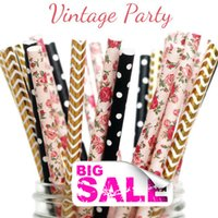 baby shower tea - 150pcs Mix Colors VINTAGE PARTY Paper Straws Gold Foil Chevron Pink Flower Black Swiss Dot Floral Baby Shower Bridal Wedding Tea