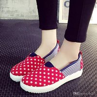 Cheap Nice White Black Lace-up Canvas American Casual Shoes Woman New Low Shoes Platform Shoes Women Flat Casual Ladies Shoes Ex211