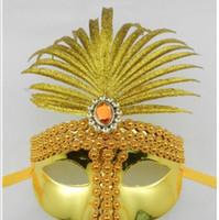 banana mask for face - 2016 New gold banana diamond chain princess party mask