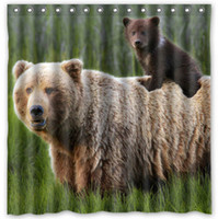 bear shower curtains - Bears Cubs Grass Animals Design Shower Curtain Size x cm Custom Waterproof Polyester Fabric Bath Shower Curtains
