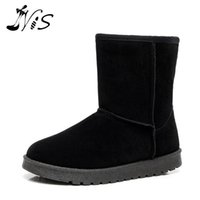 beige wedge booties - Winter Thick Warm Mujer Botas Women Lady Flat Mid calf Boots Soft Plush Cotton Snow Boot Shoe Casual Non Slip Suede Booties HOT