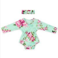 Wholesale baby jumpsuit Posh Baby Clothes Floral Baby bubble Romper Autumn Baby girls romper set toddler romper match knot headband girls outfit