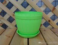 Wholesale Degradation plastic Round Plant Pot Planter Flower Pot with Pallet Tray Saucer for Decoration of Home Office Desk Garden Flower Shop