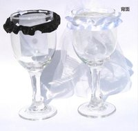 Wholesale 10pcs Wedding champagne Toasting Wine Glasses Party Decorate Bride Groom black and white Bridal Veil
