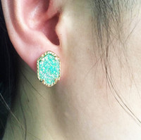 acrylic crystal chandeliers - Brand New Design Gold Tone Kendra Scott Druzy Crystals Quartz Druzy Button Stud Earrings for Women Kendra Scott Stud Earrings