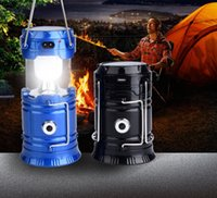 Wholesale 2016 new W Outdoor lighting camping Solar energy Rechargeable Camping Lantern Bivouac Hiking Camping Light LED Lamp