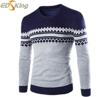 Wholesale Men Casual Fashion Sweaters Mens Knitting Sweater Pullovers Brand Clothing O Neck Patchwork Gilet Homme Manche Longue