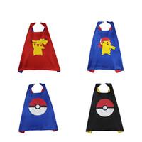 Wholesale 2016 Novelty Pokemon GO Unisex Kids Cape Kids Pocket Monster Coat Pikachu Pattern Wear Styles Holidays Poncho For Boys And Girls