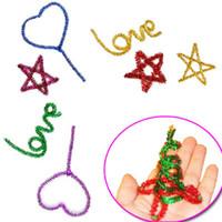 Wholesale 2016 Hot Sales set Glitter Plush Sticks Children s Puzzle Educational DIY Handmade Art Materials Shilly stick Kids Toys Multi color