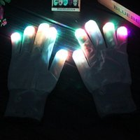 Wholesale LED Gloves LED Flashing Gloves Halloween Colorful Light Gloves Flash Finger Glove Christmas New Year
