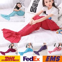 Wholesale Mermaid Blankets Kids Fishtail Knitted Blankets Girls Boys Nap Blanket Children Air Conditioning Sofa Blanket cm WX B03