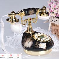Wholesale Black gold Retro ceramics antique telephones fixed phone Living room landline Backlit screen Caller ID