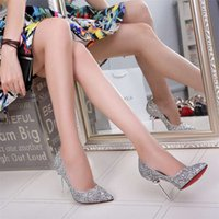 american designer shoes - European and American designer shoes in the spring High heels pointed mouth shallow with sequins metal decoration fashion shoes
