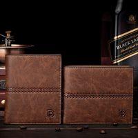 men pocket square - Men Wallets famous brand mens Pu Leather Vintage Design wallet male money purses Soft ID Card Case Card holder New classic soild pattern des