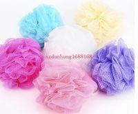 Wholesale High quality g Mesh Pouf Sponge Bathing Spa Shower Scrubber Ball Colorful Bath Brushes Sponges