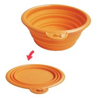 Wholesale Pet Dog Cat Fashion Silicone Collapsible Feeding Water Feeder Travel Bowl Dish