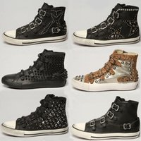 Cheap ASH Sneakers With Studs Trim Flat Heel ASH Trainers Casual Buckle High top Tide Shoes Classic Punk Women's Shoes