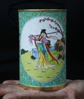 belle brush - christmas old chinese palace bronze Cloisonne belle beauty woman brush pot pencil vase jar halloween