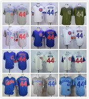 pinstripe baseball jerseys - Baseball Jerseys Chicago Cubs Anthony Rizzo Green White Pinstripes Grey Blue White Beige Top Quality From China