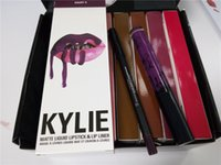 Wholesale 2016 Kylie lip kit Velvetine Liquid Matte Lipstick in Red Velvet Makeup Lip Gloss lip liner with serial number in black box