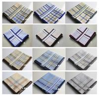 Wholesale 100 Cotton Handkerchief Gentle Man Handkerchief Craft Vintage Hanky Wedding Party Handkerchief cm cm Support Drop Shipping Customize