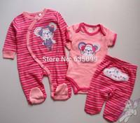 american temperature - Baby Girls Three Pieces Set Baby romper set Newborn Embridery one piece bodysuit pants temperature warning cotton suit