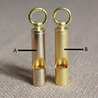Wholesale Solid Brass Vintage Handmade KeyChain EDC pendant whistle Outdoor Gear personal survival kits