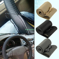 Wholesale EQB459 WITH NEEDLE THREAD DIY FAUX LEATHER CAR AUTO HAND SEWING STEERING WHEEL COVER