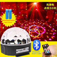 Wholesale 9X LED Color RGB Changing Crystal Magic Rotating Ball LED Effect Stage Lights play with Music Auto bluetooth for Wedding KTV Xmas ClubPub