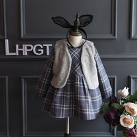 baby western clothing - New Kids Girls Plaid Ruffles Dress With Fleece Waistcoats Sets Western Fall Winter Baby Party Clothing