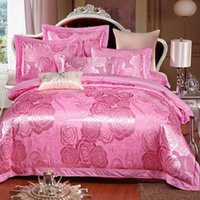 Wholesale Pink soulmate cotton satin jacquard cotton quilt embroidered linens Continental gifted Kasi sheet