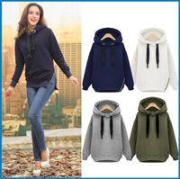Wholesale Sweaterer Hoodies Winter Autumn Loose Hooded Jacket big Size Thick Velvet Long sleeve Sweatshirt Hoodies ouc0081 DHL
