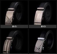 Belts Free Size Standard 100PCS HHA779 Hot 77 designs Fashion belt MENS Genuine Leather belts Waist Strap Belts Automatic Buckle Black leisure business leather belts