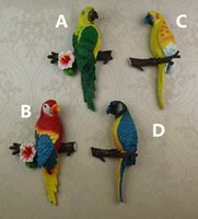 Wholesale Three dimensional Parrot Fashion Wall Decoration PC Animal Style Colorful Parrot Resin Wall Hanging Best Decoration Gift