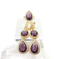 Wholesale New Arrival Purple Emerald White Topaz Silver Jewelry Sets For Women Rings fashion Earrings Free Jewelry Box