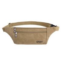 Wholesale Men Fanny Pack Waist Belt Bag Canvas Purse Travel Camping Hiking Zip Pocket