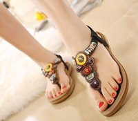 beaded slippers - US4 US10 Size Fashion Summer Women Bohemian Beaded Sandals Ladies Sexy Hollow Beach Slipper Girls Rhinestone Flip Flops