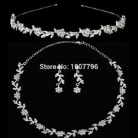 Wholesale Bridal Jewelry Sets European Bridal Necklace Earrings Headband Three piece For Romantic Wedding