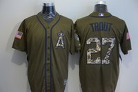 angels camo - Los Angeles Angels Jersey Mens Mike Trout Army Green Camo Letters Salute To Service Baseball Jersey Price Fast Shipping