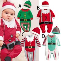 baby santa hat - 2016 Baby Christmas Romper Sets with Hat styles Infants pc Santa Outfits Toddler Girls Boys Santa Romper Jumpsuits Xmas Baby Costume